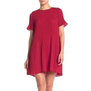 Rachel Zoe Pink Pleated Peplum Sleeve Mini Dress